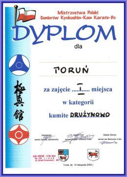 Mistrzostwa Polski kyokushinkan Turek 2005 dyplom kumite