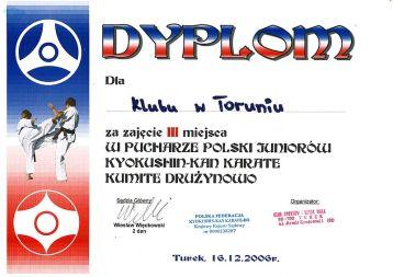Puchar Polski Juniorów kyokushin-kan Turek 16.12.2006 dyplom