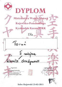 MWKP PFKK Solec Kujawski 23.02.2013 dyplom kumite