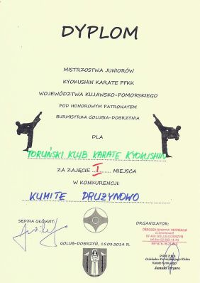 MWKP PFKK Golub-Dobrzyń 15.03.2014 dyplom kumite